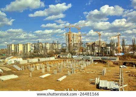 Building area, foundation and cranes. HDRi Image - stock photo