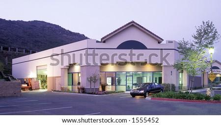 Building at dawn - stock photo