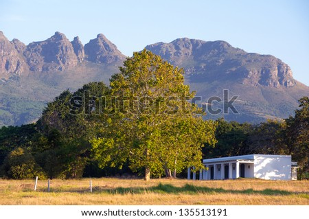 Building at the wine estate in Stellenbosch, South Africa - stock photo