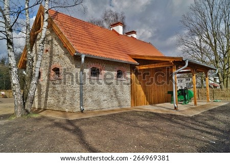 Building, barn, open-air museum in the village - reconstruction of XX century - Lodz, Poland