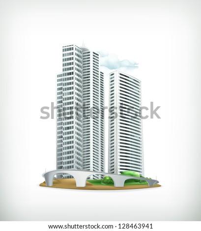 Building, bitmap copy - stock photo