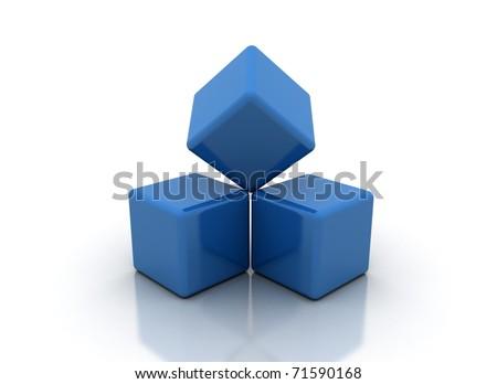 Building blocks blue - stock photo