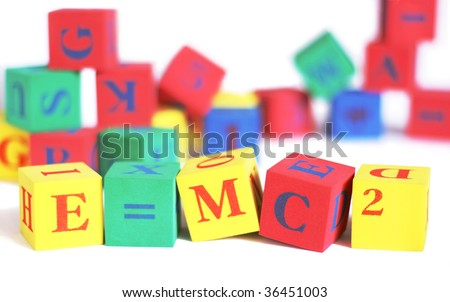 building blocks 'e=mc2' - stock photo