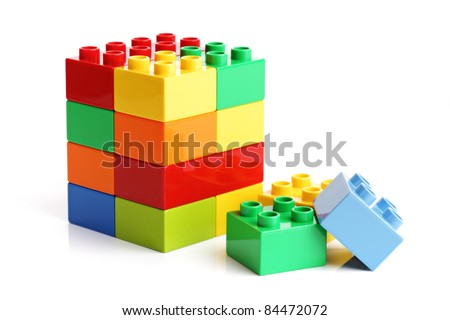 Building blocks isolated on a white background - stock photo