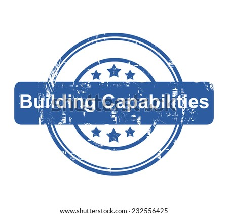 Building Capabilities business concept stamp with stars isolated on a white background. - stock photo