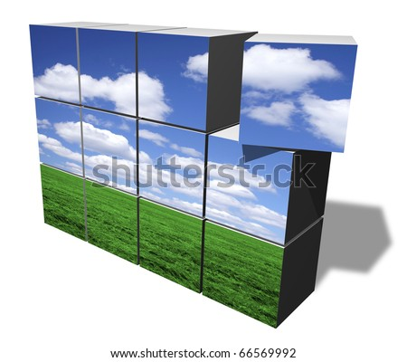 Building clean environment from blocks - stock photo