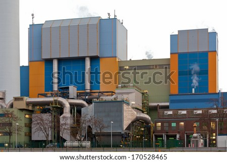 Building complex detail of modern industrial waste-to-energy facility in Oberhausen, Germany, Europe - stock photo
