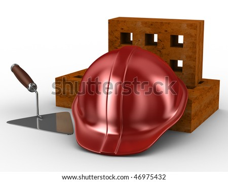 building concept on white background. Isolated 3D image - stock photo