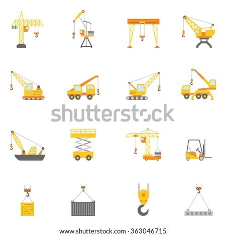 Building construction crane flat icons set - stock photo
