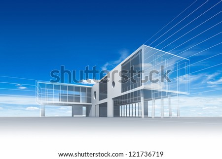 Building construction. High quality 3d render - stock photo