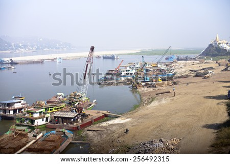 building construction in Myanmar - stock photo