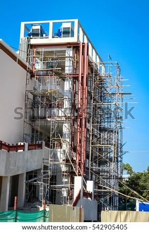 building construction side on blue sky background