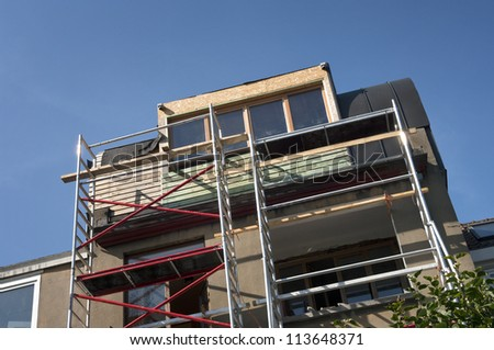 Building Construction Site in progress to  house in Belgium - stock photo