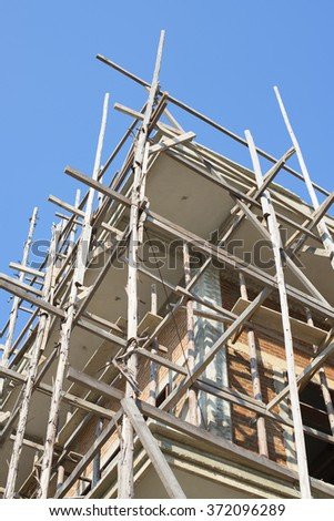 Building & Construction Site in progress to new house in Thailand - stock photo
