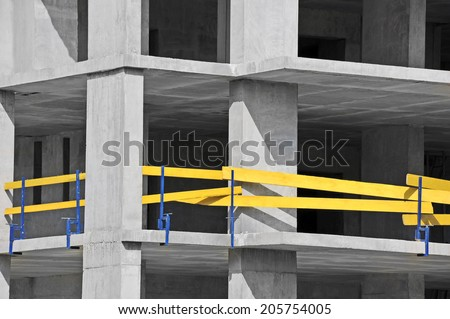 Building construction site wok with railing, detail  - stock photo