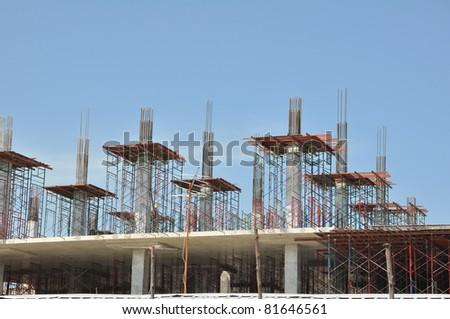 Building construction site work - stock photo