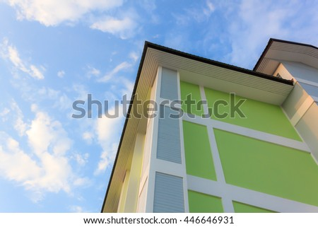 building construction with beautiful blue sky. - stock photo