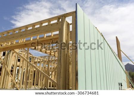 Building construction  wood beams under construction - stock photo