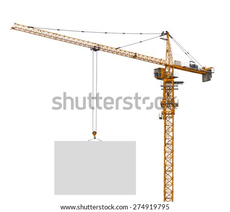 Building crane holding blank paper on isolated white background - stock photo