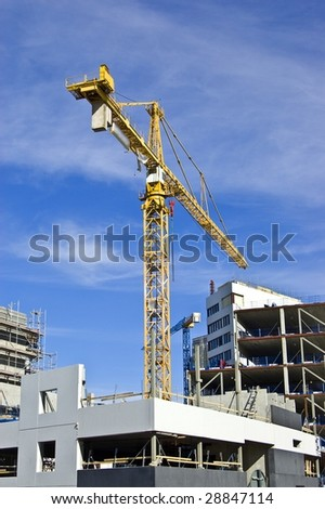 Building crane in the action
