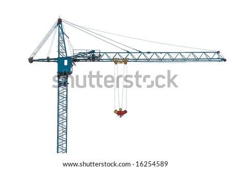 Building crane isolated on white. - stock photo