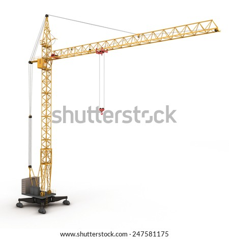 Building crane isolated on white background. 3d rednder image. - stock photo