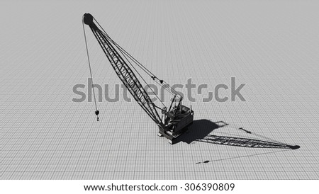 Building crane on a gray background. Illustration on the theme of construction was done from my own 3D rendering file - stock photo