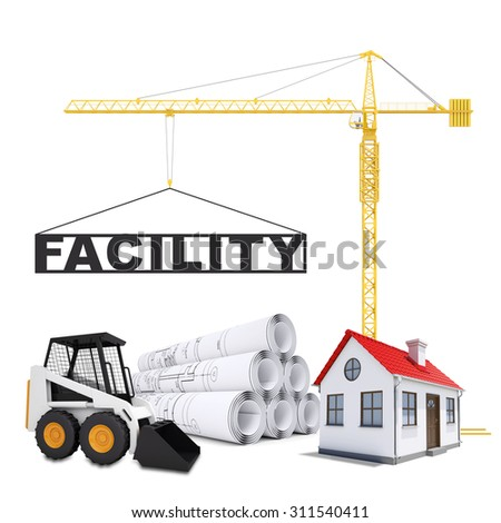 Building crane with digger on isolated white background