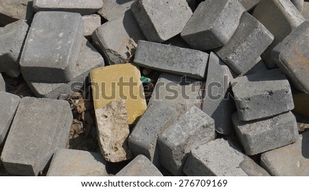 Building debris. Bricks - stock photo