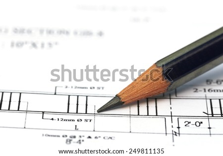 Building design with pencil on a paper - stock photo