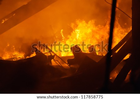 Building destroyed by fire - stock photo