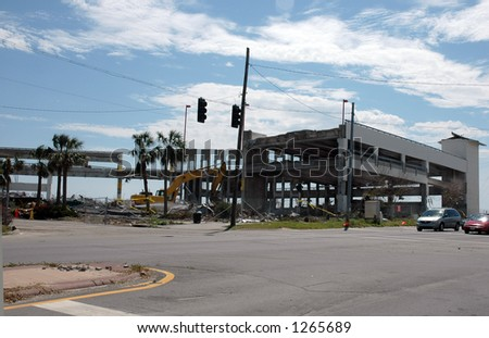 Building destroyed in Biloxi Mississippi by hurricane Katrina