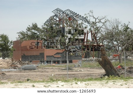 Building destroyed in Biloxi Mississippi by hurricane Katrina - stock photo