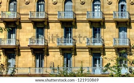 Building detail of San Sebastian, Spain - stock photo