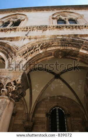 Building details in Dubrovnik, Croatia. - stock photo