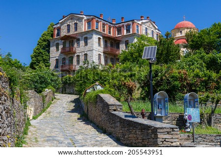 Building details in Karyes on Holy Mount Athos - stock photo