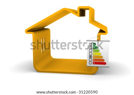 Building Energy Performance E Classification - stock photo