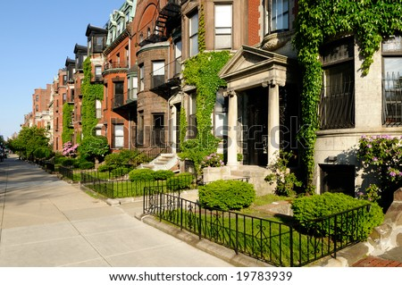 Building exteriors in residential district of Back Bay, Boston - stock photo