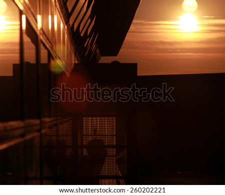 building facade backlit - stock photo