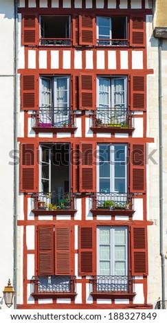 Building facade in Bayonne, France - stock photo