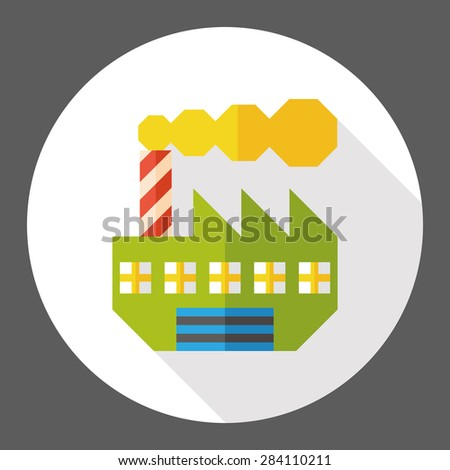 Building factory flat icon with long shadow