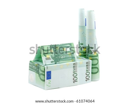 Building factory made of euro banknotes isolated on white background - stock photo