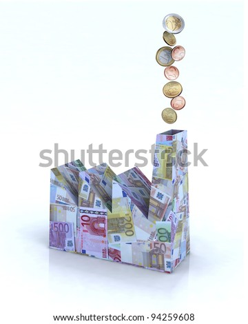 Building factory made of euro banknotes with euro coins come out of the chimney, 3d illustration - stock photo