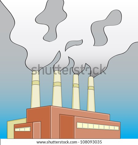 Building/Factory/Power Plant releasing smoke that is shaping into a skull. - stock photo