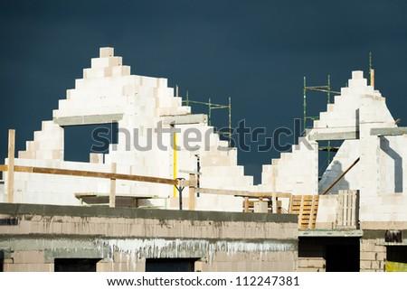 Building family houses - stock photo