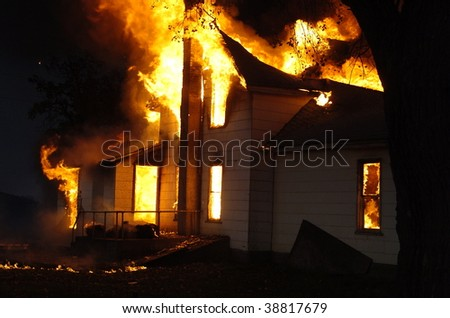 building fire - stock photo
