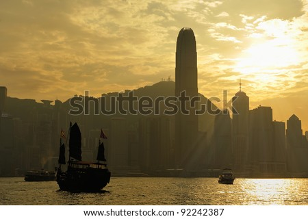 Building Hong Kong's waterfront. - stock photo