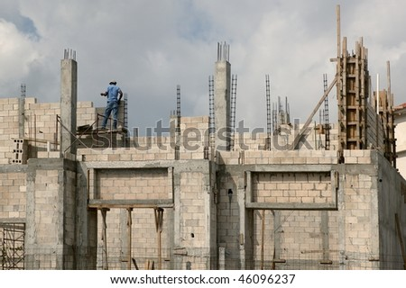 Building house with concrete blocks and columns in south Mexico - stock photo