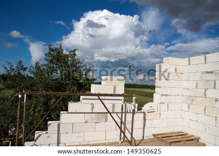 building houses out of bricks - stock photo