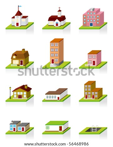 Building Icon -- 3D Illustration - stock photo